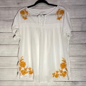 LOFT Yellow White Embroidered Top